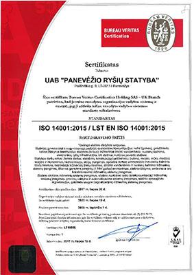 Panevezio rysiu statyba PRS Vadybos sertifikatas ISO 14001