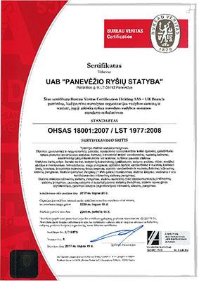 Panevezio rysiu statyba PRS Vadybos sertifikatas OHSAS 18001